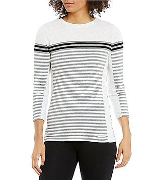 Calvin Klein Performance Dynamic Stripe Tee With Solid Side Contrast Panel