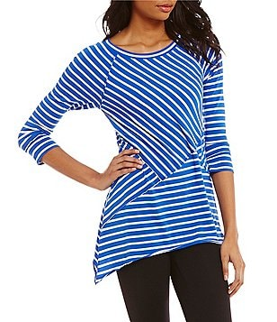 Calvin Klein Performance Pieced 3/4 Sleeve Striped Knit Jersey Tee