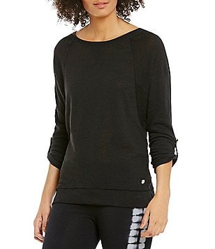 Calvin Klein Performance Slub Knit Jersey Dolman Roll Sleeve Top