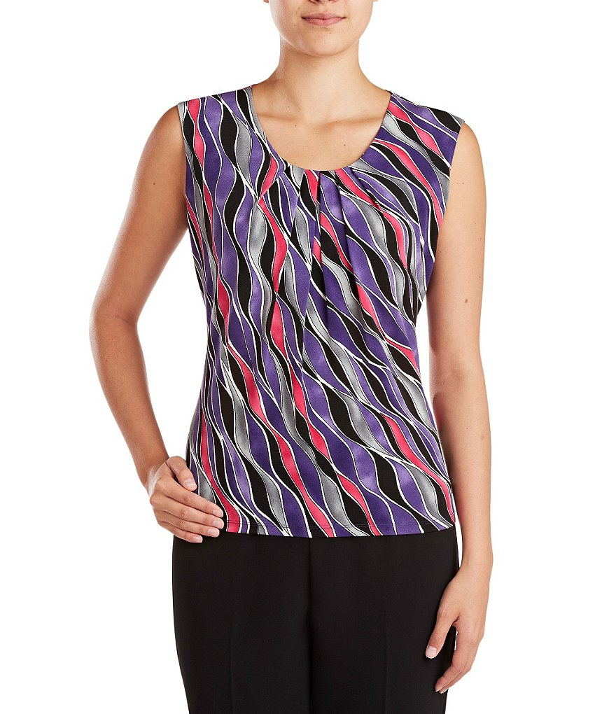 Allison Daley Petite Sleeveless Printed Knit Top