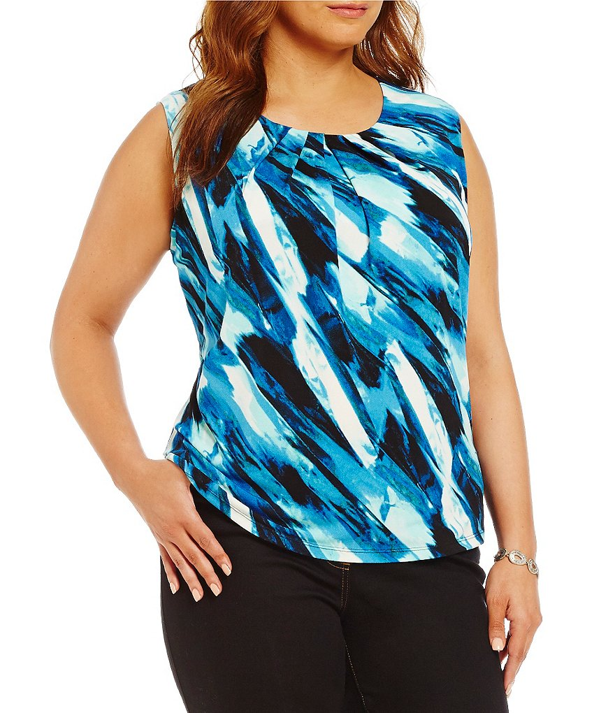 Allison Daley Plus Sleeveless Printed Knit Top
