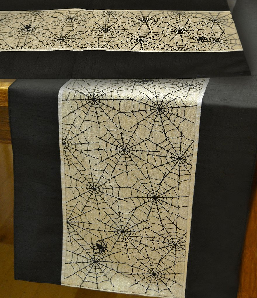 Homewear Halloween Metallic Web-Embroidered Table Linens
