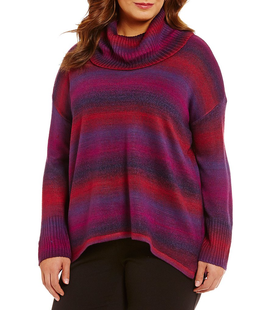 Investments Plus Striped Cowl Neck Sweater