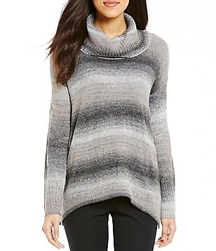 Investments Cowl Neck Long Sleeve Printed Sweater