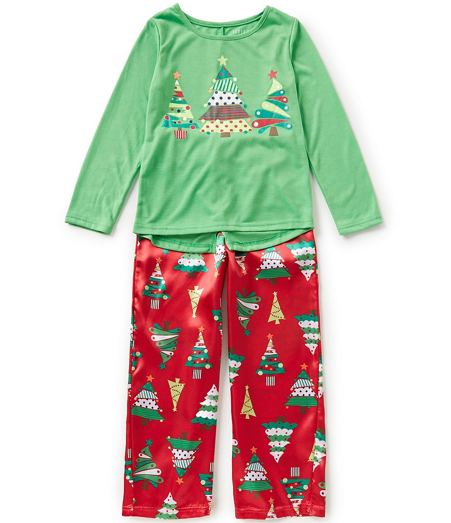 Komar Kids Little/Big Girls 4-16 Christmas Tree Top and Pants Sleep Set