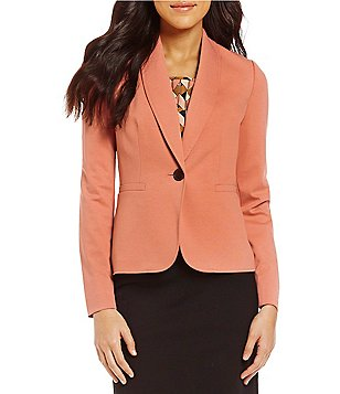 Kasper Shawl Collar One-Button Front Solid Stretch Ponte Jacket