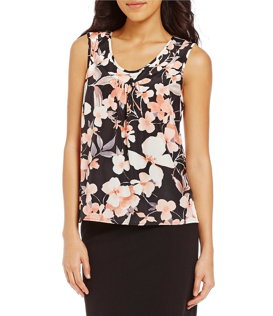 Kasper Floral-Print Scoop Neck Top