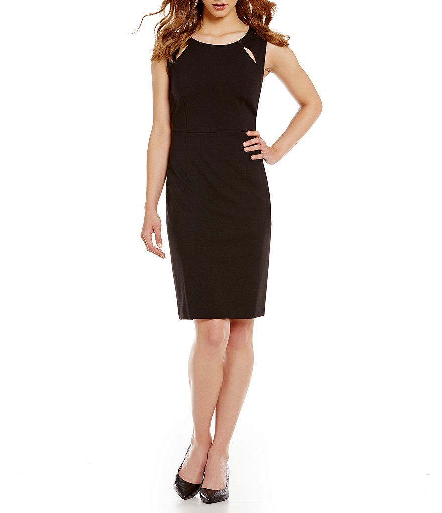 Kasper Cut-Out-Shoulder Sleeveless Ponte Sheath Dress