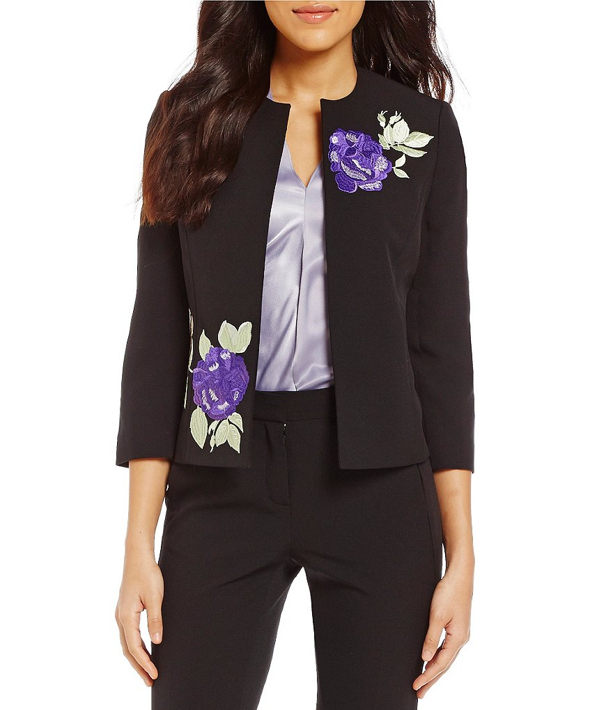 Kasper Crew Neck 3/4 Sleeve Floral Embroidered Open-Front Crepe Jacket