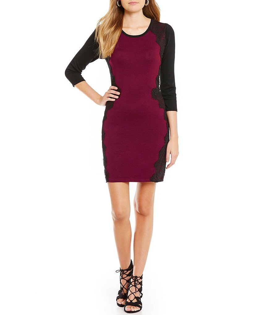 I.N. San Francisco Lace-Paneled Color Block Sheath Sweater Dress