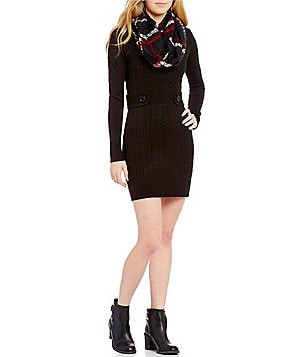 I.N. San Francisco Plaid Scarf Sweater Sheath Dress