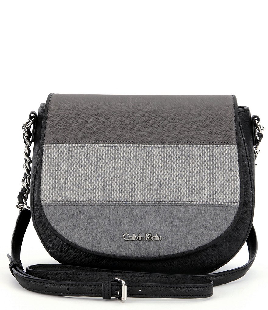 Calvin Klein Mixed-Media Saddle Bag