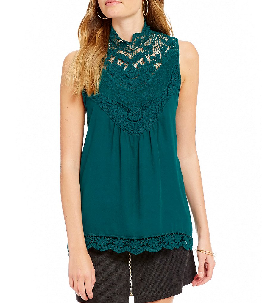 Takara High-Neck Lace-Detailed Tank Top