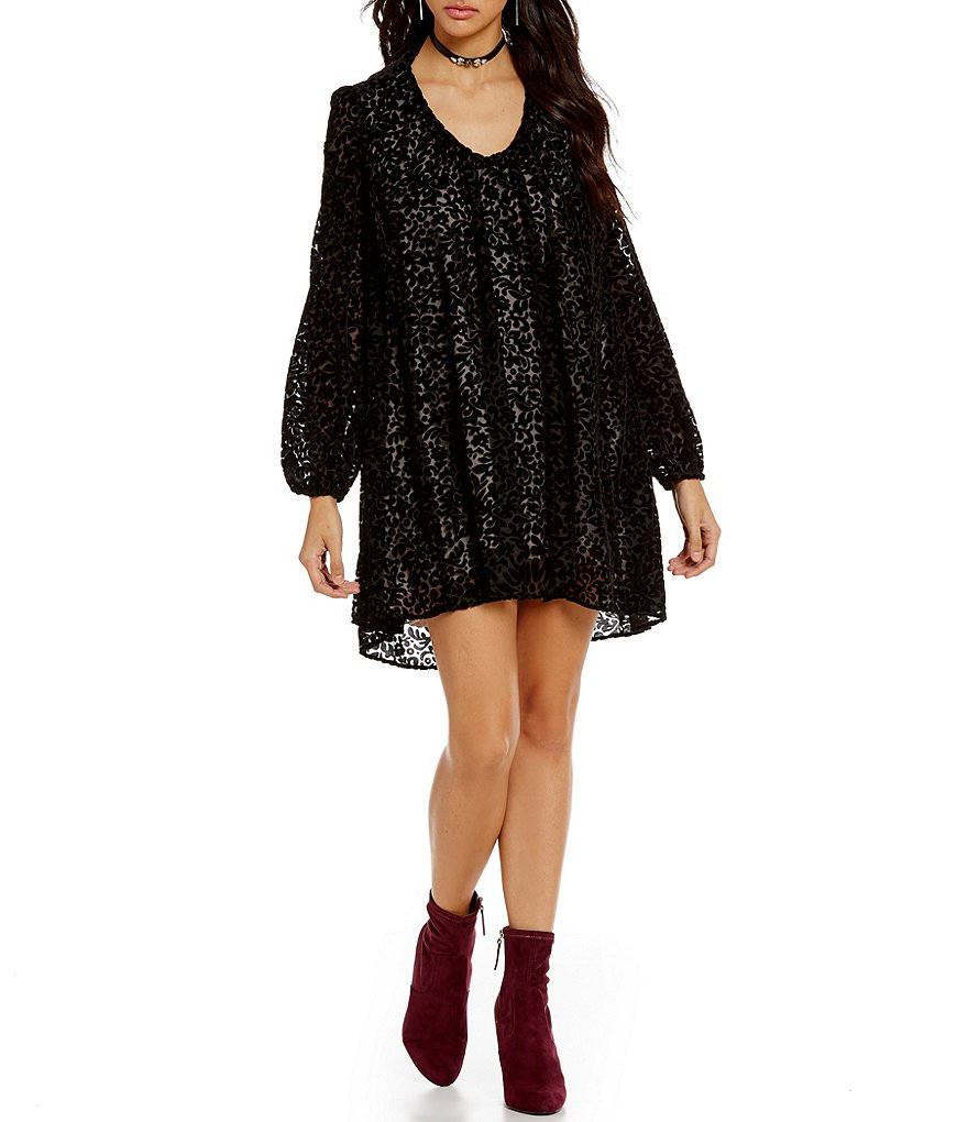 Takara Velvet Burnout High-Low Shift Dress