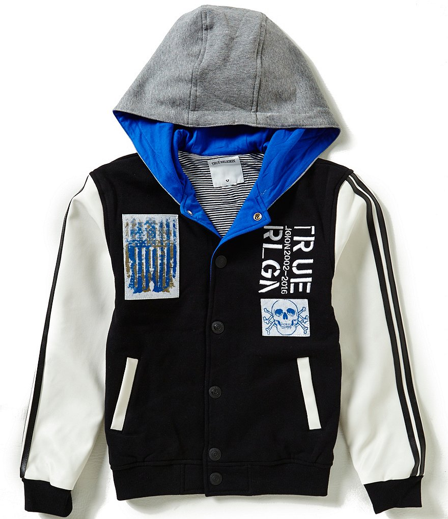 True Religion Big Boys 8-20 Punk Hooded Varsity Jacket