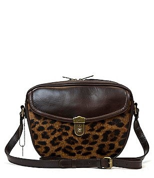 Patricia Nash Lia Leopard-Print Oval Haircalf Cross-Body Bag