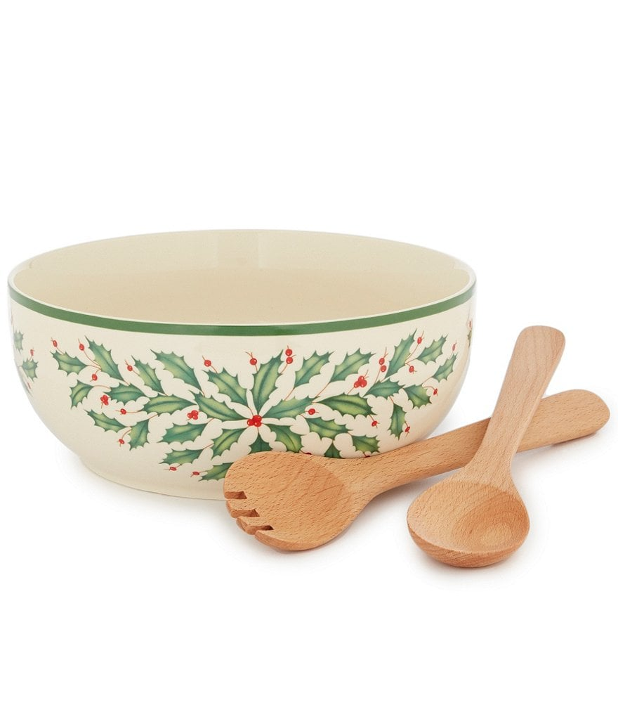 Lenox Holiday Salad Bowl with Wooden Servers
