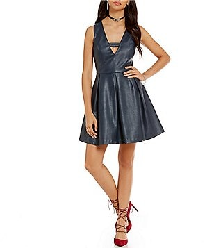 J.O.A. Sleeveless V-Neck Vegan Leather Dress