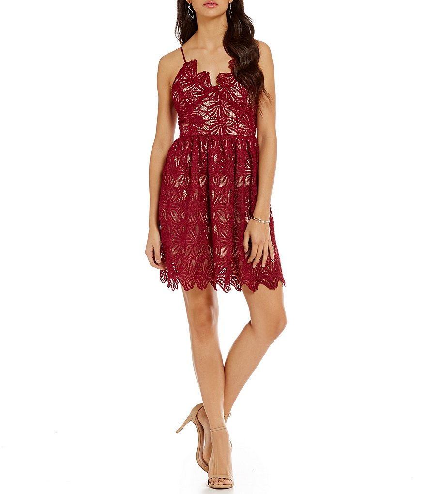 J.O.A. Sleeveless V-Neck Lace Dress