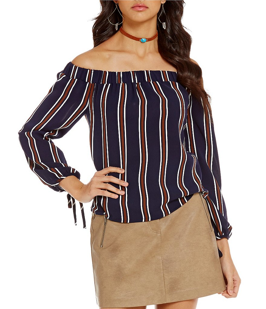 J.O.A. Off-the-Shoulder Long Sleeve Stripe Blouse