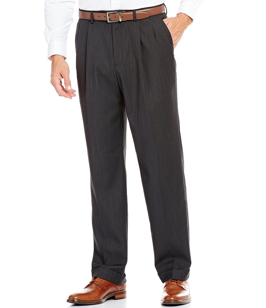 Ralph Ralph Lauren Classic Fit Pleated Herringbone Dress Pants