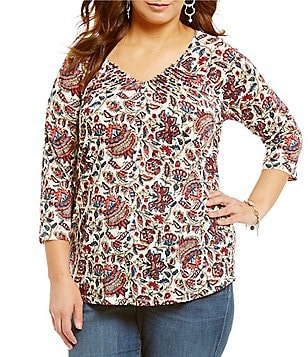 Lucky Brand Plus Printed Pintuck V-Neck 3/4 Sleeve Top
