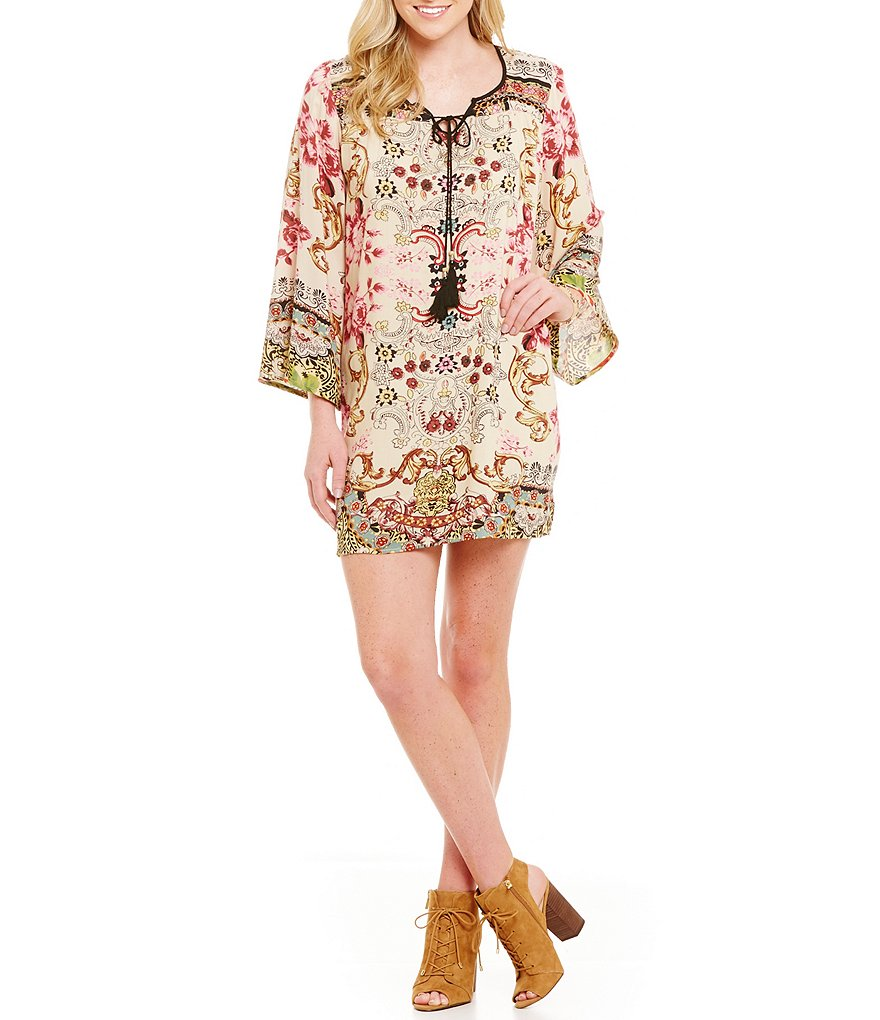 Angie Floral Print Tassel-Tie Front Bell Sleeve Swing Dress