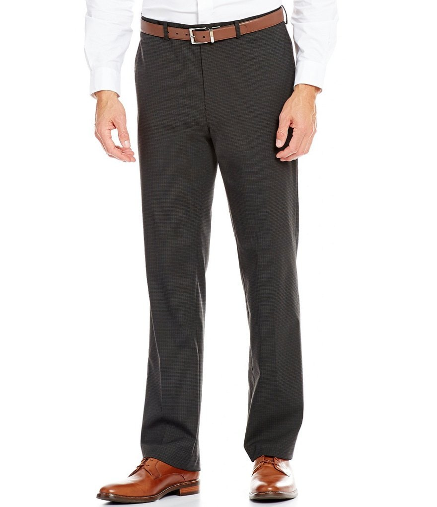 Ralph Ralph Lauren Slim Fit Flat-Front Checked Dress Pants