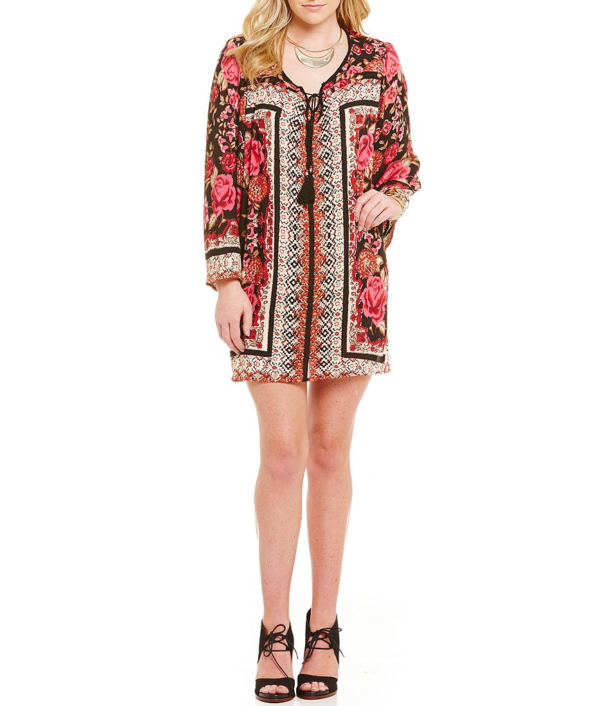 Angie Border Print Bell Sleeve Swing Dress