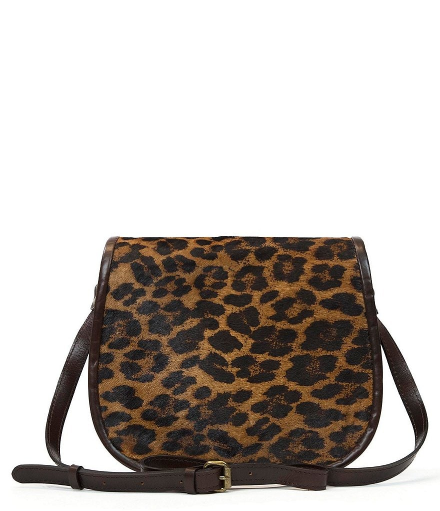 Patricia Nash La Cruz Leopard-Print Haircalf Saddle Bag