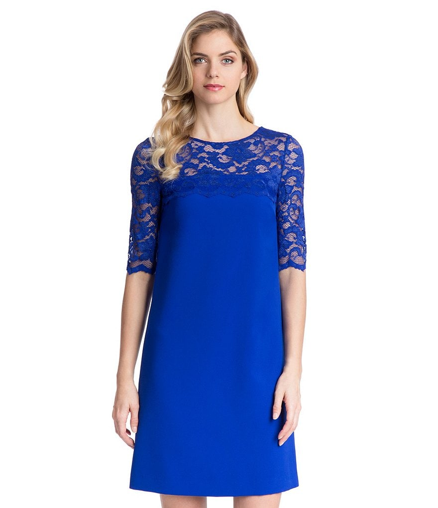Belle Badgley Mischka Tia Lace Detail Dress