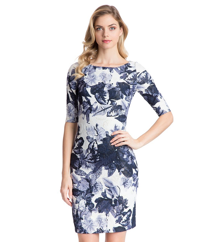 Belle Badgley Mischka Taline Jacquard Sheath Dress
