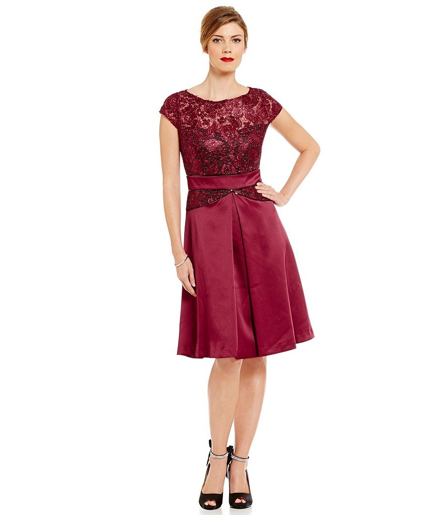 Brianna Cap-Sleeve Corded Lace Satin A-Line Dress