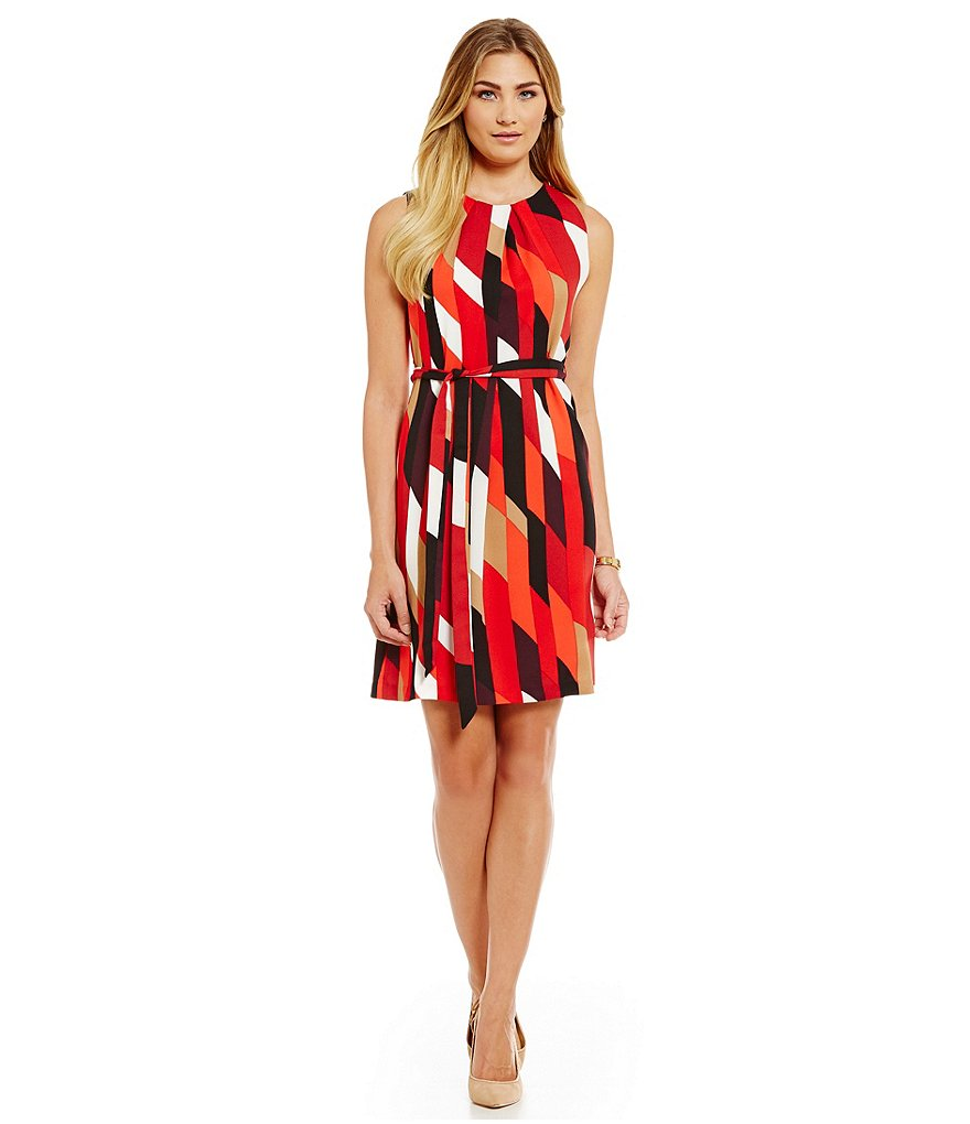 Leslie Fay Geo Print Belted Sleeveless Sheath Dress