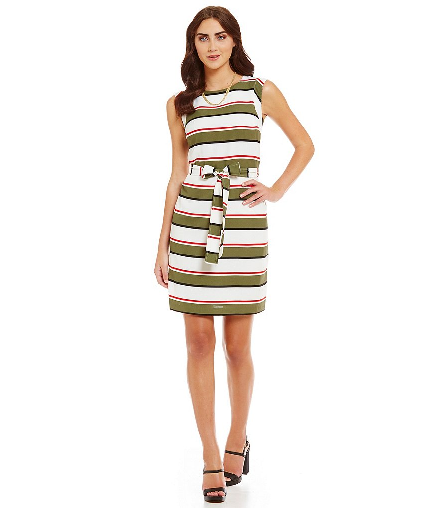 Leslie Fay Double Stripe Belted Sheath Dress