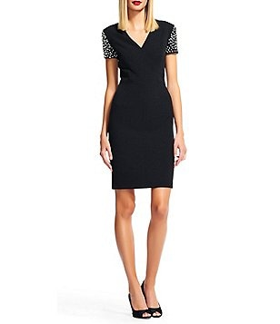 Adrianna Papell Pearl-Cap Sleeve V-Neck Stretch Crepe Sheath Dress