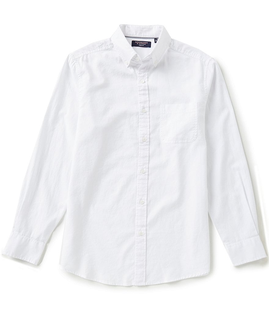 Roundtree & Yorke Trim-Fit Long-Sleeve Solid Poplin Sportshirt