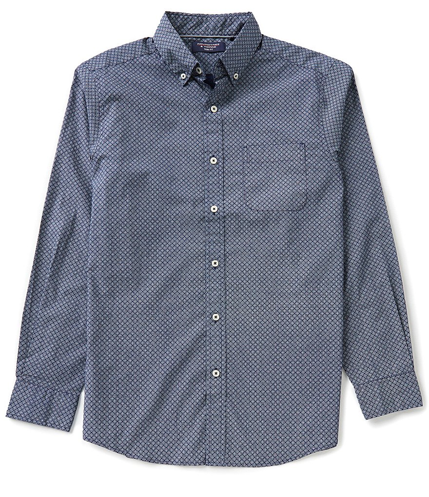 Roundtree & Yorke Trim-Fit Long-Sleeve Printed Poplin Sportshirt