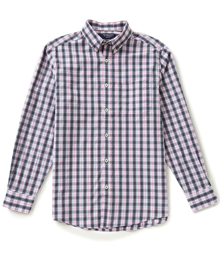 Roundtree & Yorke Trim-Fit Long-Sleeve Medium Plaid Sportshirt