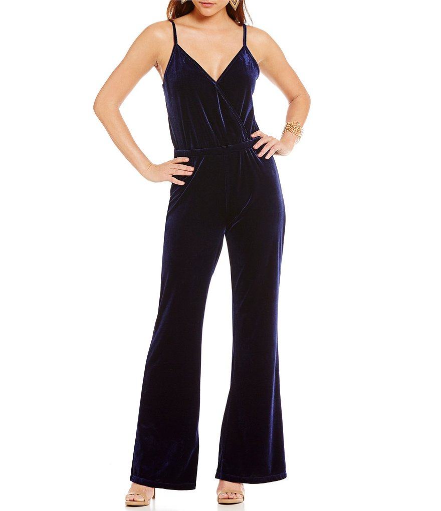 JACK by BB Dakota Pearson Solid Velvet Sleeveless Wide-Leg Jumpsuit