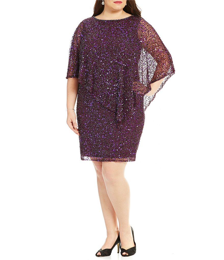 Pisarro Nights Plus Beaded Boat Neck Caplet Dress