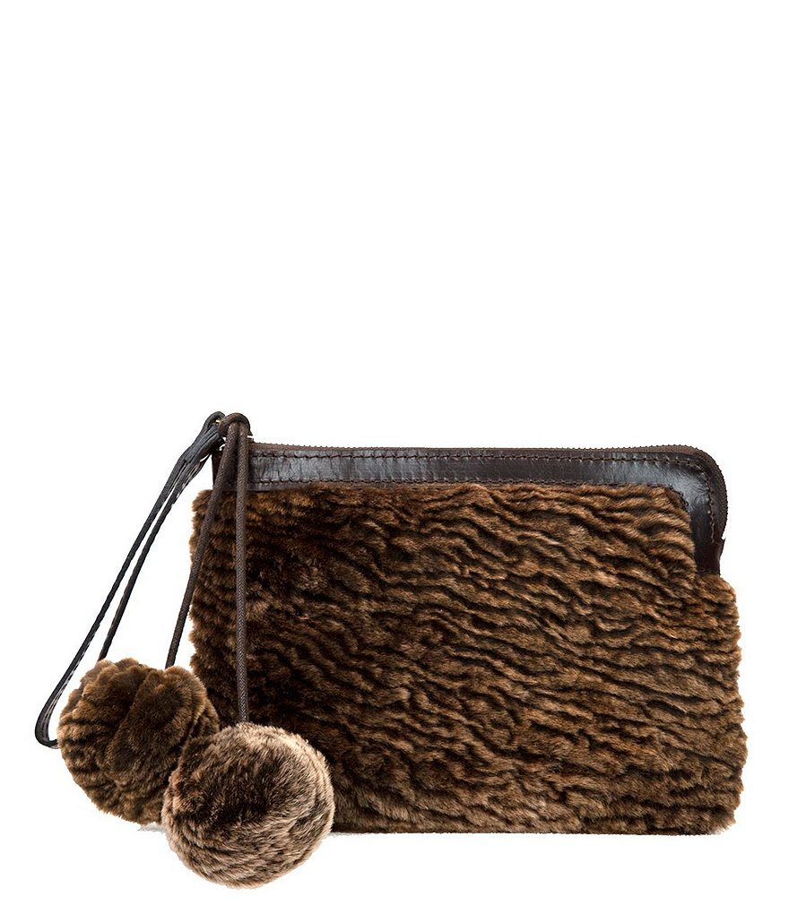 Patricia Nash Laser Cut Sherpa Collection Cassini Fur Wristlet