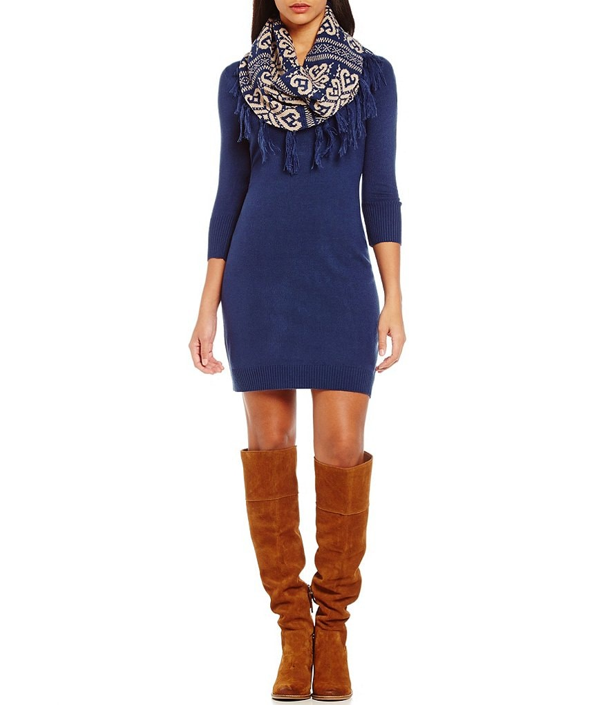 Sequin Hearts Fringe Scarf Sweater Dress