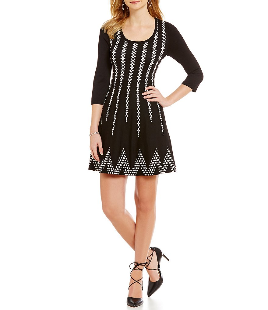 Sequin Hearts Dotted/Stripe Sweater Dress