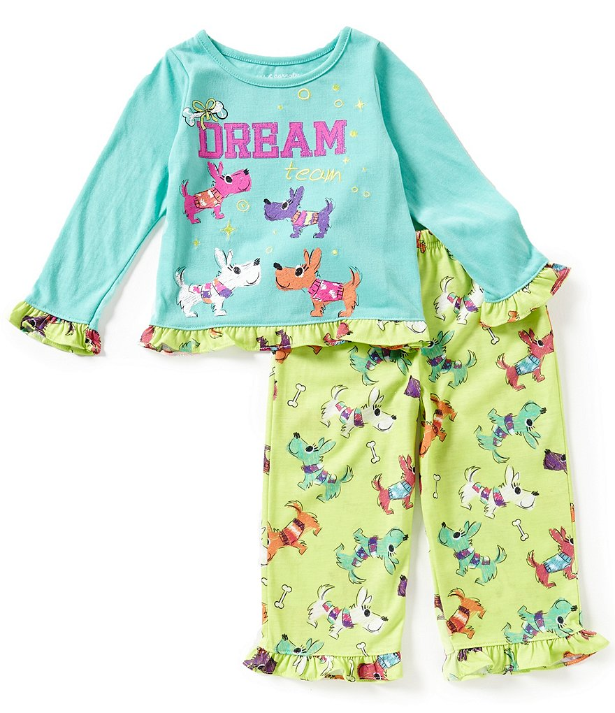 Komar Kids Little Girls 2T-4T Dog Dream Team Top & Pants Pajama Set