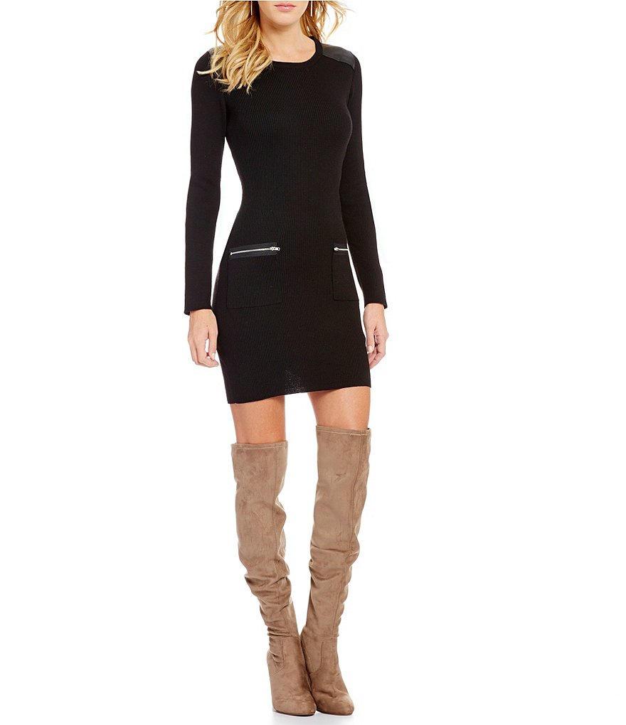 I.N. San Francisco Long-Sleeve Faux-Leather Trim Zip-Pocket Sweater Dress