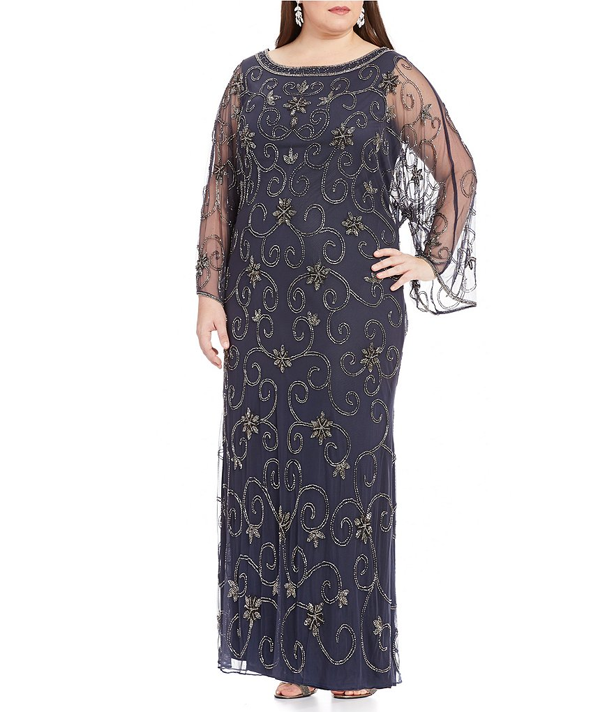 Pisarro Nights Plus Beaded Caftan Gown