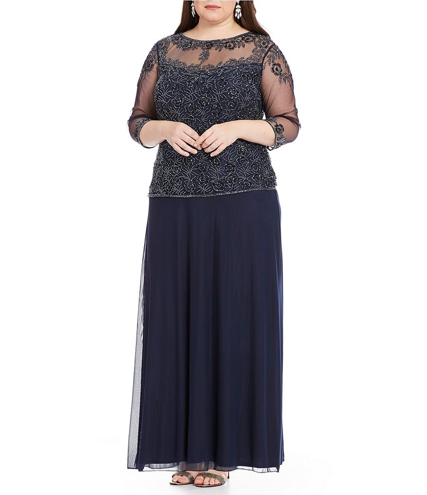 Pisarro Nights Plus Boat Neck 3/4 Sleeve Beaded Mock 2-Piece A-Line Gown