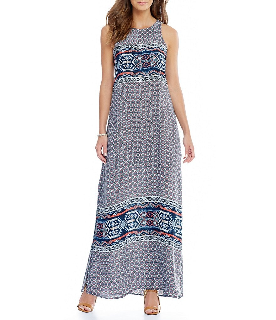 Gibson & Latimer Geometric Border Print Maxi Dress