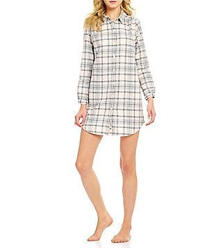Sleep Sense Shadow Plaid Flannel Sleepshirt